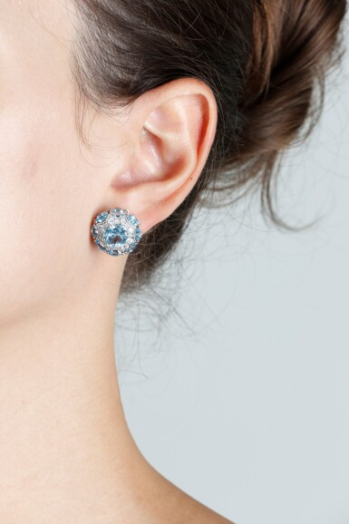 View 5. Thumbnail of Lot 131. JAMES GANH | PAIR OF TOPAZ AND DIAMOND EARRINGS.