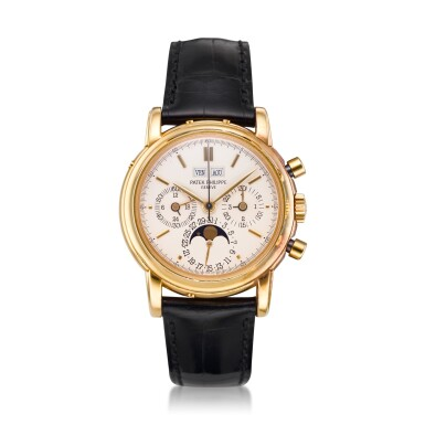 View 8. Thumbnail of Lot 31. REFERENCE 3970/E 'SECOND SERIES' A YELLOW GOLD PERPETUAL CALENDAR CHRONOGRAPH WRISTWATCH WITH MOON PHASES, 24 HOURS AND LEAP YEAR INDICATION, MADE IN 1987.