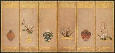ANONYMOUS, EDO PERIOD, 17TH CENTURY | TEA JARS AND FLOWER ARRANGEMENTS