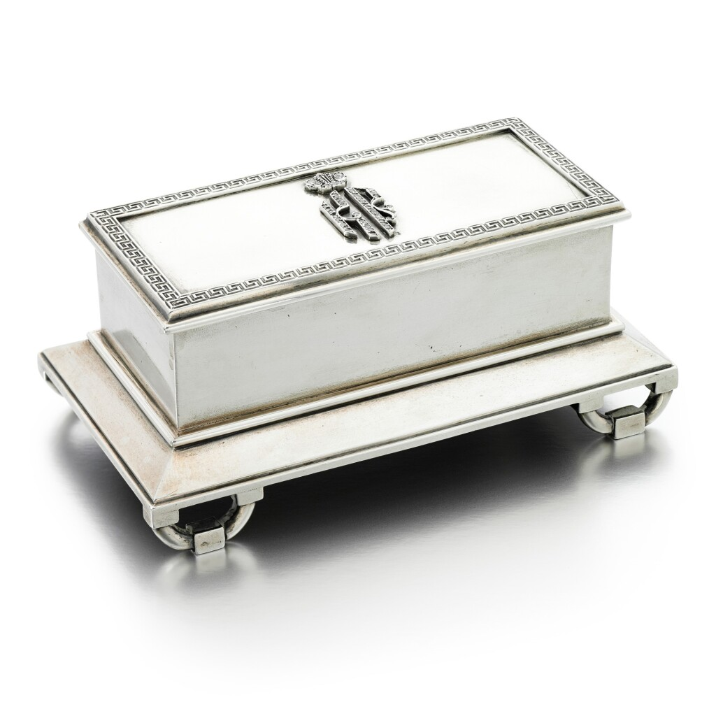 A JEWELLED PARCEL-GILT SILVER STAMP BOX
