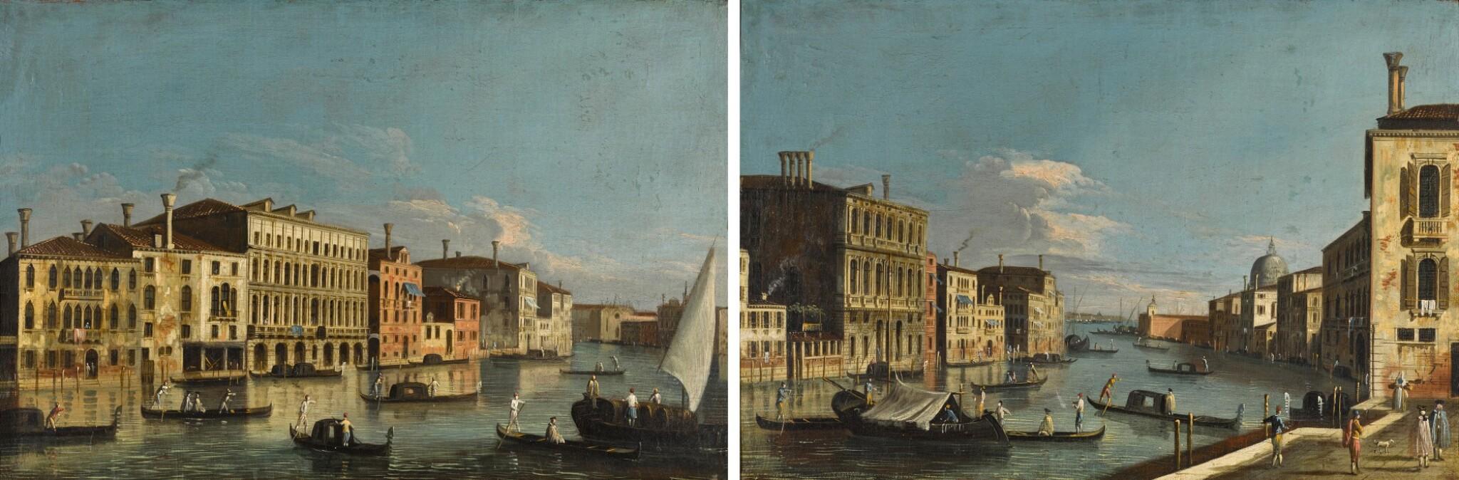 View full screen - View 1 of Lot 417. Venice, a view of the Grand Canal looking south from the Palazzo Da Lezze towards Santa Maria della Carità; Venice, a view of the Grand Canal from the quay of San Vio, looking towards Santa Maria Della Salute.