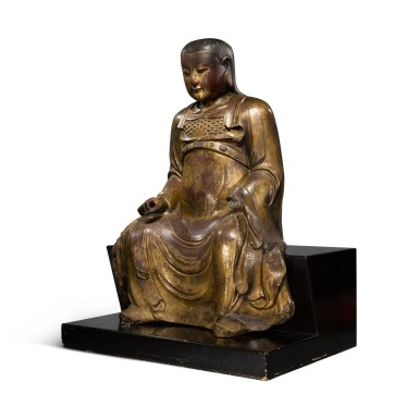 View 2. Thumbnail of Lot 225. A large gilt-lacquered wood figure of Zhenwu, Ming dynasty   明 木漆金真武坐像.