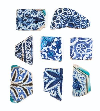 View 2. Thumbnail of Lot 129. Ten Pottery Tile Fragments, Mamluk, Ottoman, Timurid and European, 15th-18th centuries.
