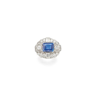 View 1. Thumbnail of Lot 27. SAPPHIRE AND DIAMOND RING.