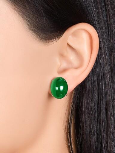View 3. Thumbnail of Lot 1681. Pair of Imperial Green Jadeite Earrings | 天然「帝王綠」翡翠耳環一對.