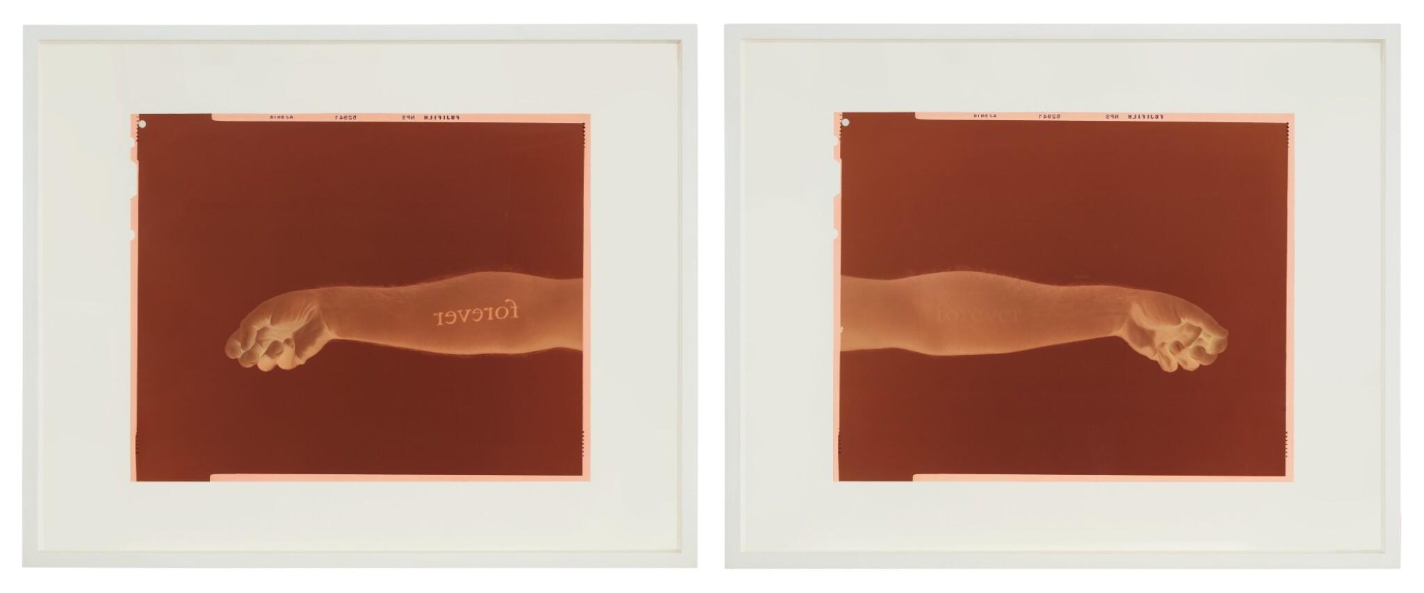 View full screen - View 1 of Lot 133. DOUGLAS GORDON   LEFT: NEVER, NEVER (BLACK, NEGATIVE, MIRRORED) RIGHT: NEVER, NEVER (WHITE, NEGATIVE, MIRRORED) [TWO WORKS].
