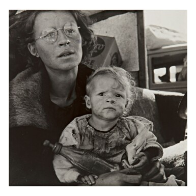 DOROTHEA LANGE | MOTHER AND BABY OF FAMILY ON THE ROAD, TULELAKE, SISKIYOU COUNTY, CALIFORNIA