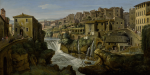 GASPAR VAN WITTEL, CALLED VANVITELLI |  VIEW OF TIVOLI WITH THE OLD WATERFALL AND LEFT BANK OF THE RIVER ANIENE