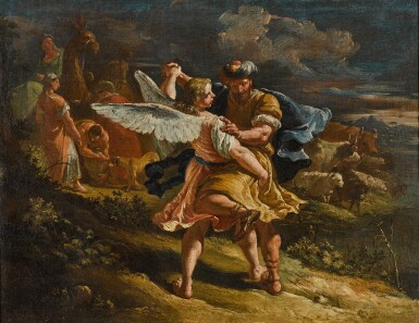 View 1. Thumbnail of Lot 9. FRANCESCO FONTEBASSO  |  JACOB WRESTLING WITH THE ANGEL.
