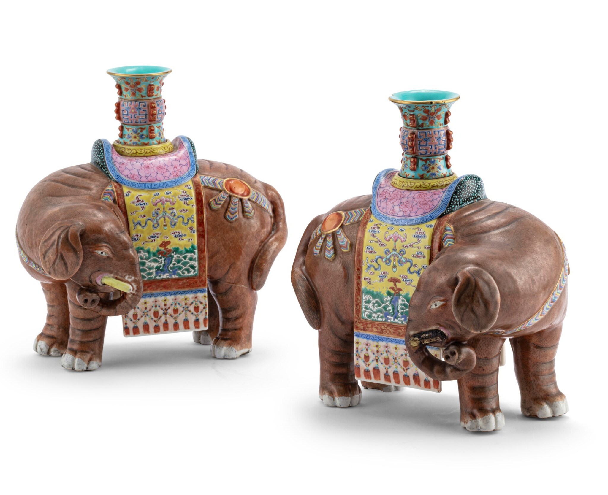 View 1 of Lot 221. Paire d'éléphants en porcelaine de la Famille Rose Dynastie Qing, XIXE siècle | 清十九世紀 粉彩太平有象尊一對 | A pair of large Famille-Rose elephants, Qing Dynasty, 19th century.