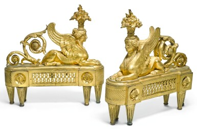 A PAIR OF LOUIS XVI GILT-BRONZE CHENETS LATE 18TH CENTURY, AFTER THE DESIGN BY FRANÇOIS-JOSEPH BÉLANGER