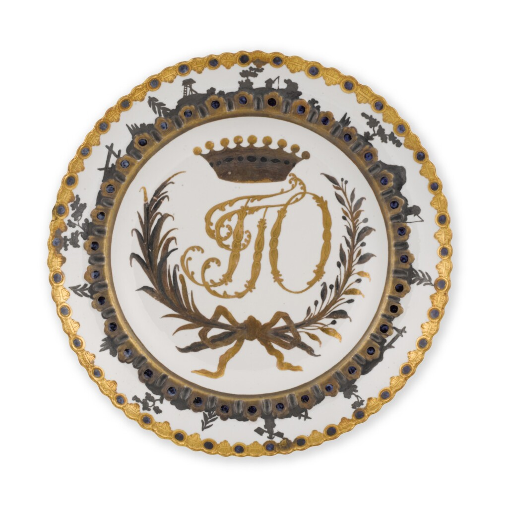 A PORCELAIN PLATE FROM THE ORLOV SERVICE, IMPERIAL PORCELAIN FACTORY, ST PETERSBURG, 1763-1770
