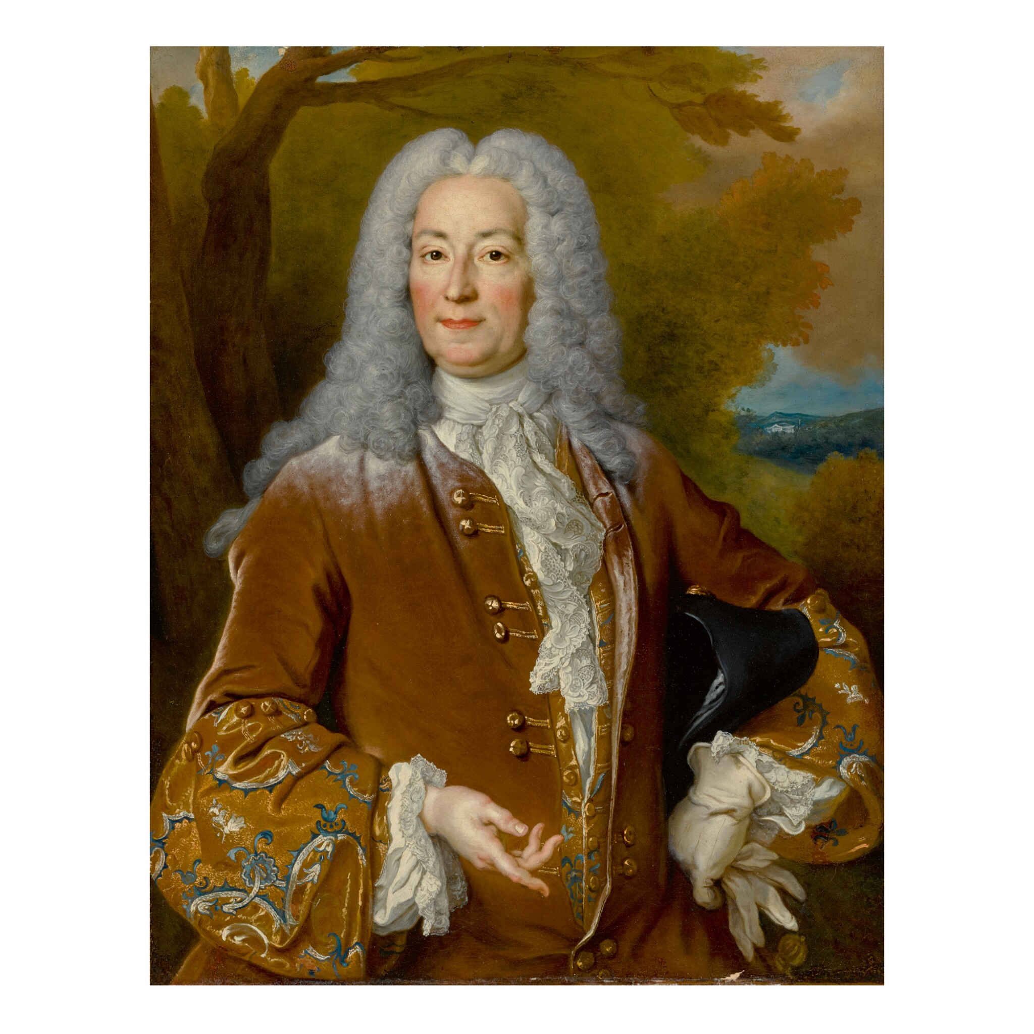 View full screen - View 1 of Lot 81. NICOLAS DE LARGILLIERRE   PORTRAIT OF NOBLEMAN WITH A POWDERED WIG.