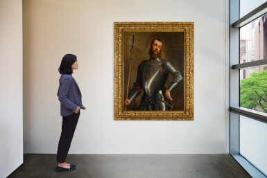 View 2. Thumbnail of Lot 63. JACOPO DA PONTE, CALLED JACOPO BASSANO  |  PORTRAIT OF A MILITARY COMMANDER IN ARMOUR, THREE-QUARTER LENGTH, WEARING A BROADSWORD AND HOLDING A PARTIGIANA.