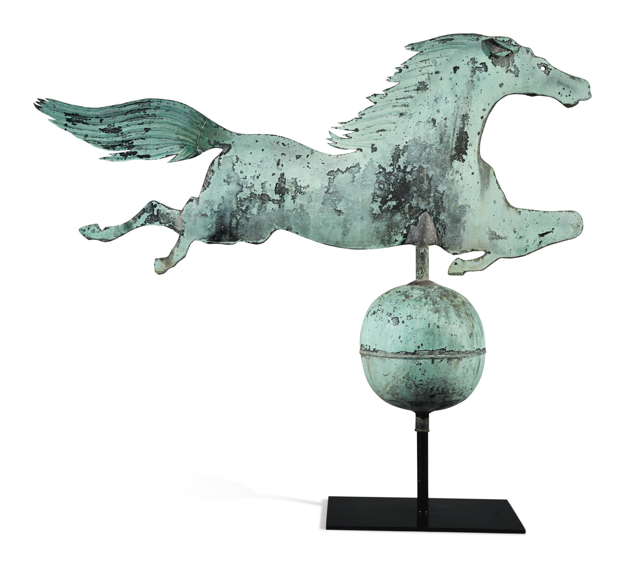 View full screen - View 1 of Lot 169. Very Fine and Rare Molded Copper 'Leaping Horse' Weathervane, Boston, Massachusetts, circa 1860.