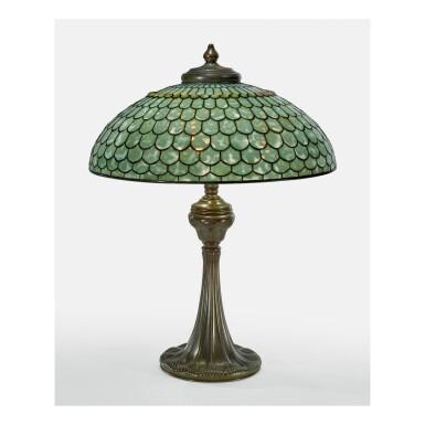 "View 1. Thumbnail of Lot 44. TIFFANY STUDIOS | ""FISH SCALE"" TABLE LAMP."