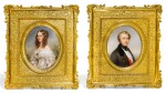 A PAIR OF FRENCH PORCELAIN OVAL PORTRAIT PLAQUES, CIRCA 1852-55, PROBABLY SÈVRES, PAINTED BY MME CLÉMENCE NAIGEON-TURGAN