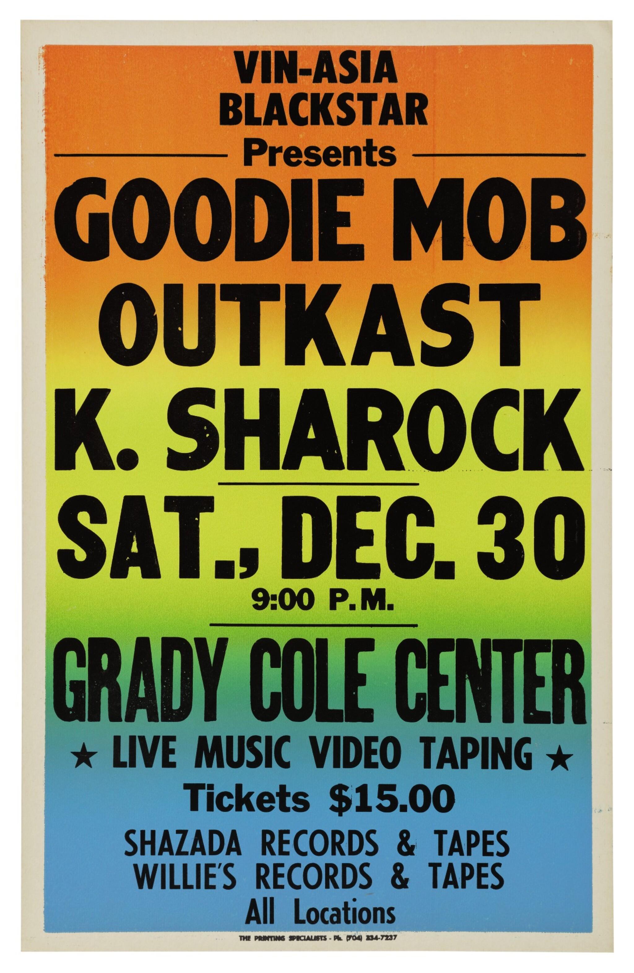 "View 1 of Lot 112. OUTKAST | ""VIN-ASIA BLACKSTAR PRESENTS GOODIE MOB, OUTKAST, AND K. SHAROCK"" VINTAGE CONCERT POSTER, 1995."