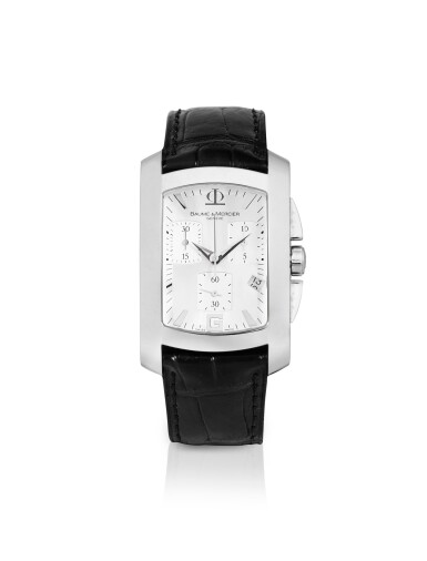 BAUME & MERCIER | HAMPTON, STAINLESS STEEL RECTANGULAR CHRONOGRAPH WRISTWATCH WITH DATE, CIRCA 2015 [HAMPTON, MONTRE CHRONOGRAPHE RECTANGULAIRE EN ACIER AVEC DATE]