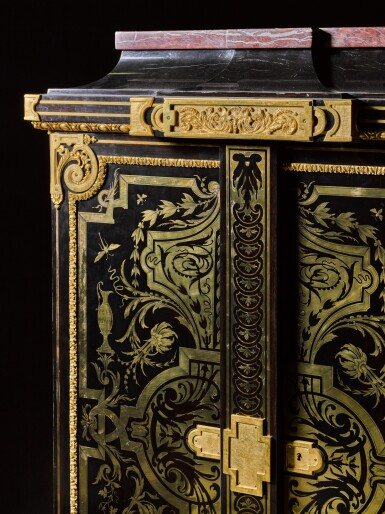 View 6. Thumbnail of Lot 31. A LOUIS XIV STYLE GILT-BRONZE MOUNTED, EBONY AND BRASS BOULLE MARQUETRY SMALL ARMOIRE, BY JOSEPH CREMER, CIRCA 1860.