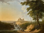 An extensive landscape with a view of Chepstow Castle on a hill beyond