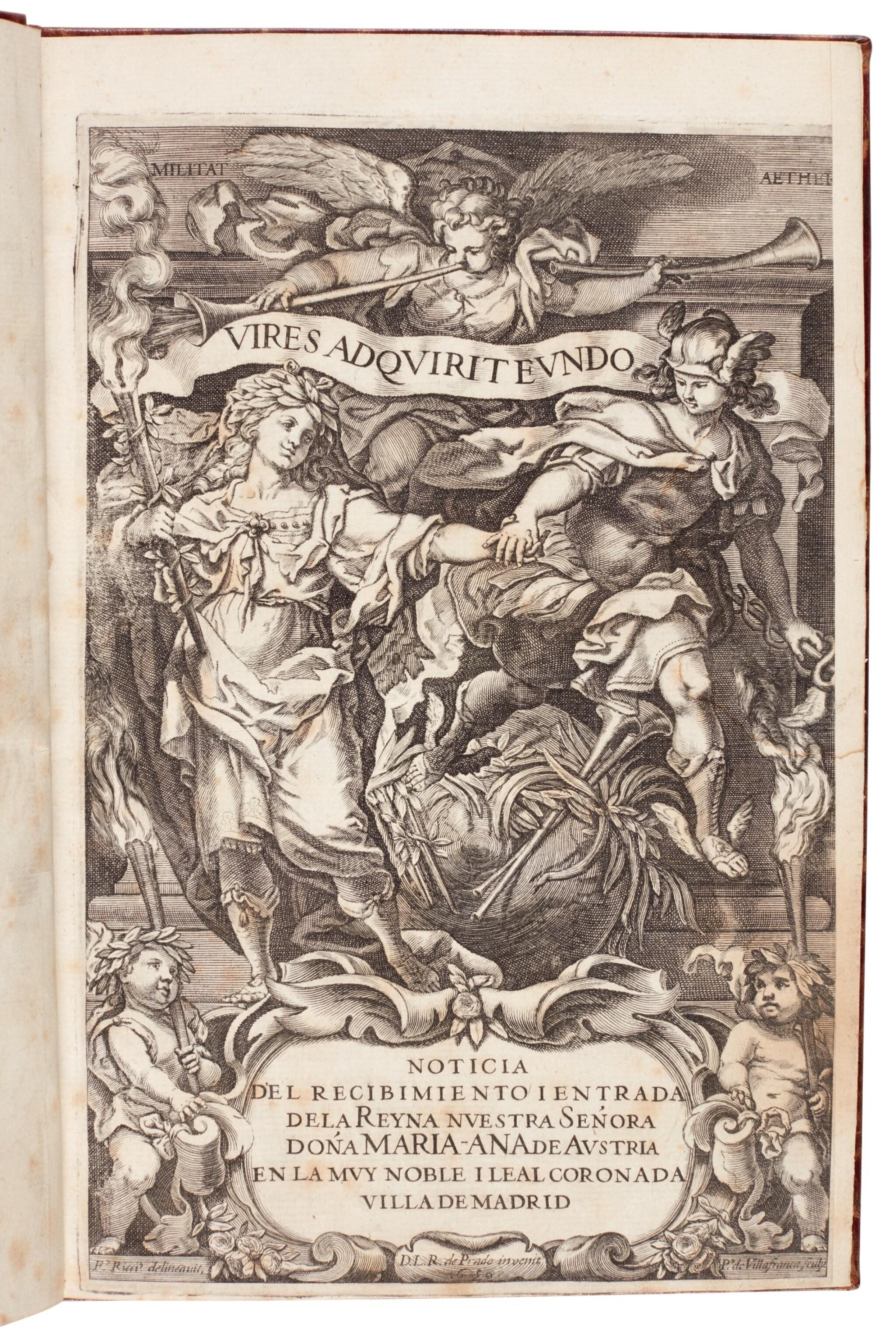 View full screen - View 1 of Lot 177. Noticia del recibimiento i entrada de la reyna... doña Maria-Ana de Austria, [Madrid, c. 1650].