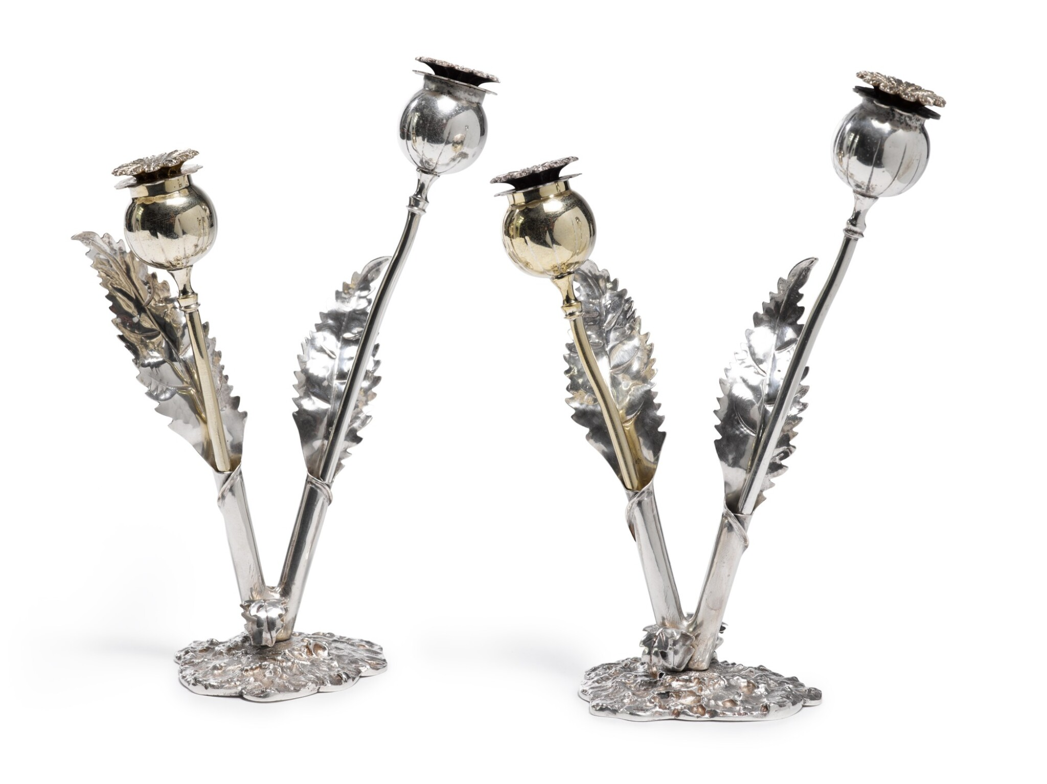 View full screen - View 1 of Lot 75. A Pair Of Italian Parcel-Gilt Silver Salt And Pepper Shakers, Buccellati, 20th Century.