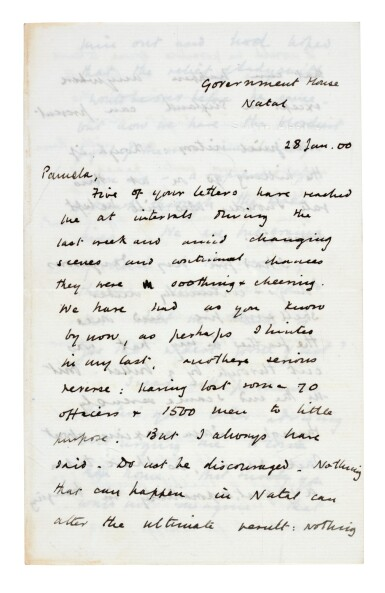 View 1. Thumbnail of Lot 26. CHURCHILL | autograph letter signed, to Pamela Plowden, 1900.
