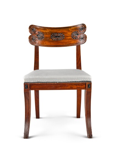 View 3. Thumbnail of Lot 158. A set of twelve Regency mahogany and ebony 'Klismos' dining chairs, circa 1815, after a design by Thomas Hope.