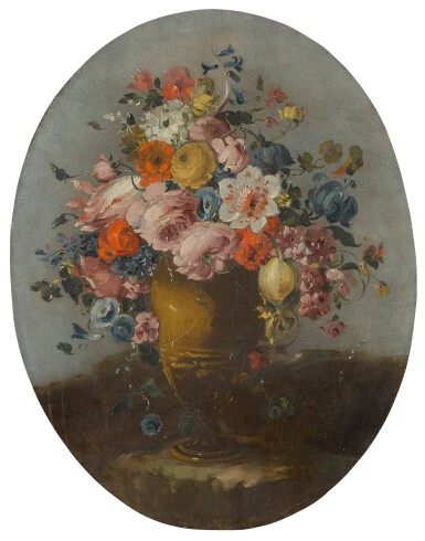 View 2. Thumbnail of Lot 648. A pair of still lifes of roses, anemones, and other flowers in bronze urns, resting on stone ledges.