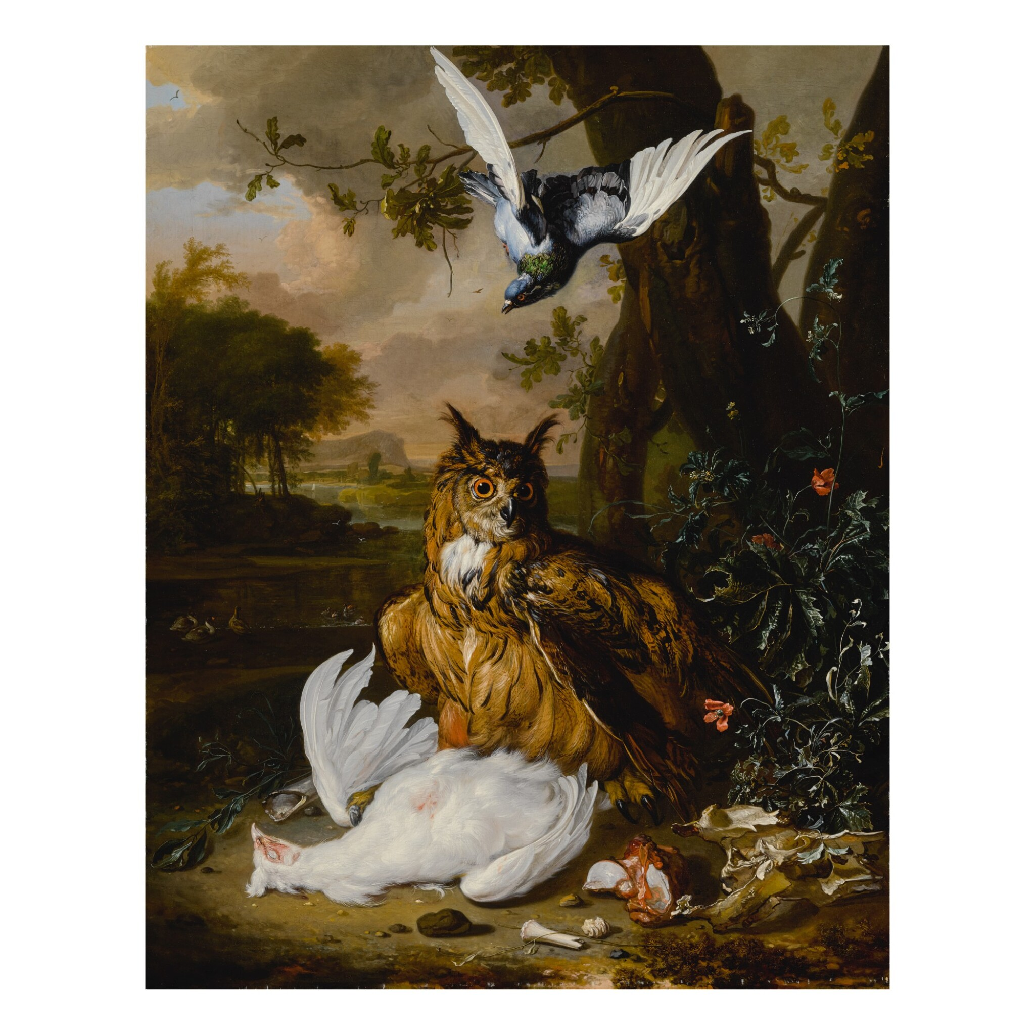 View full screen - View 1 of Lot 18. A Eurasian eagle-owl with other birds in a landscape.
