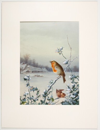 View 5. Thumbnail of Lot 143.  Winter - A Cock Robin; Winter - A Robin and Wren.