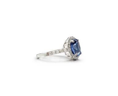 View 2. Thumbnail of Lot 44. SAPPHIRE AND DIAMOND RING.