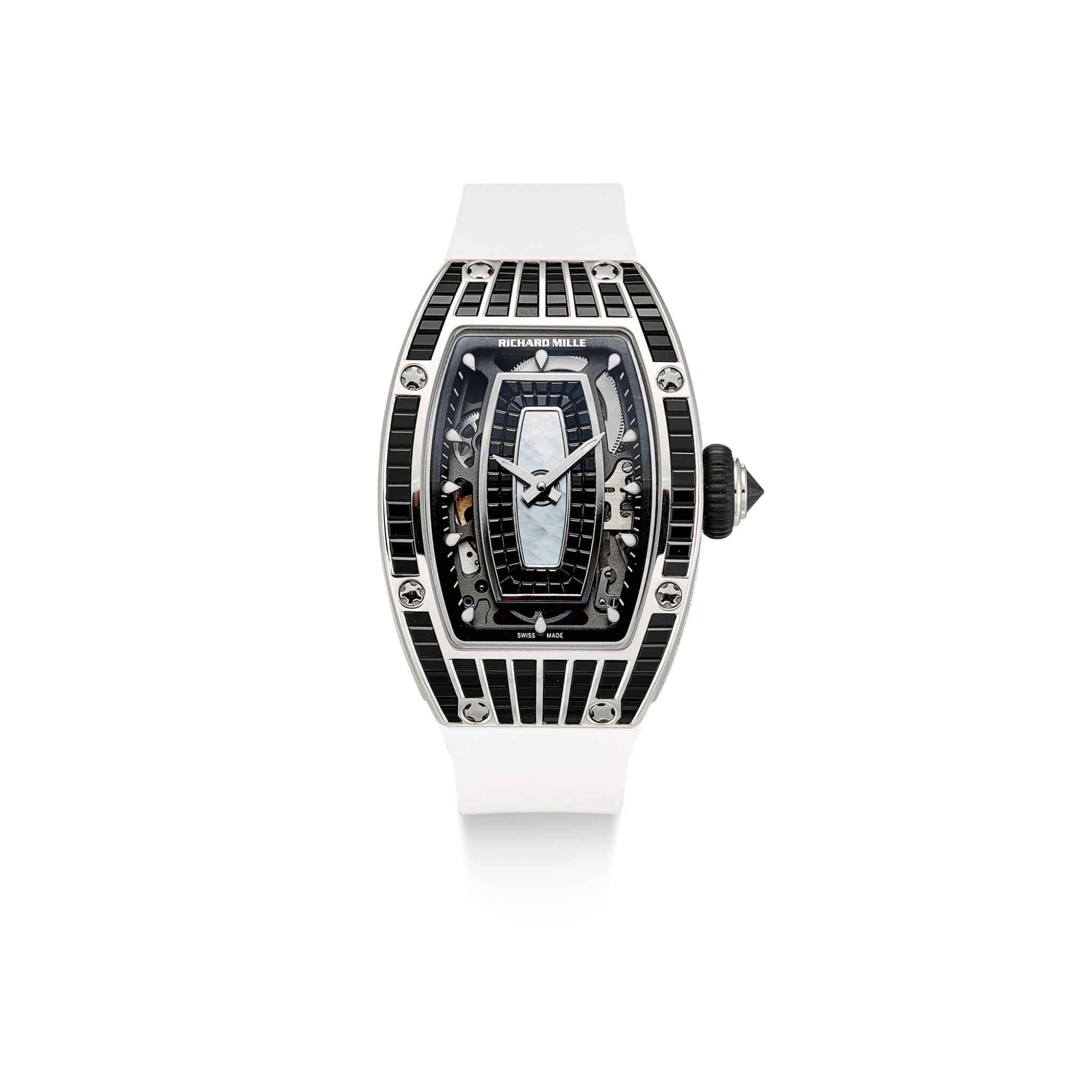 View full screen - View 1 of Lot 351. RICHARD MILLE   RM07, A BRAND NEW WHITE GOLD, DIAMOND AND BLACK BAGUETTE-CUT SAPPHIRE-SET SEMI-SKELETONISED WRISTWATCH WITH MOTHER-OF-PEARL DIAL, CIRCA 2019.