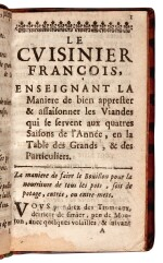 La Varenne, Le cuisinier françois, Rouen, 1676, contemporary mottled calf