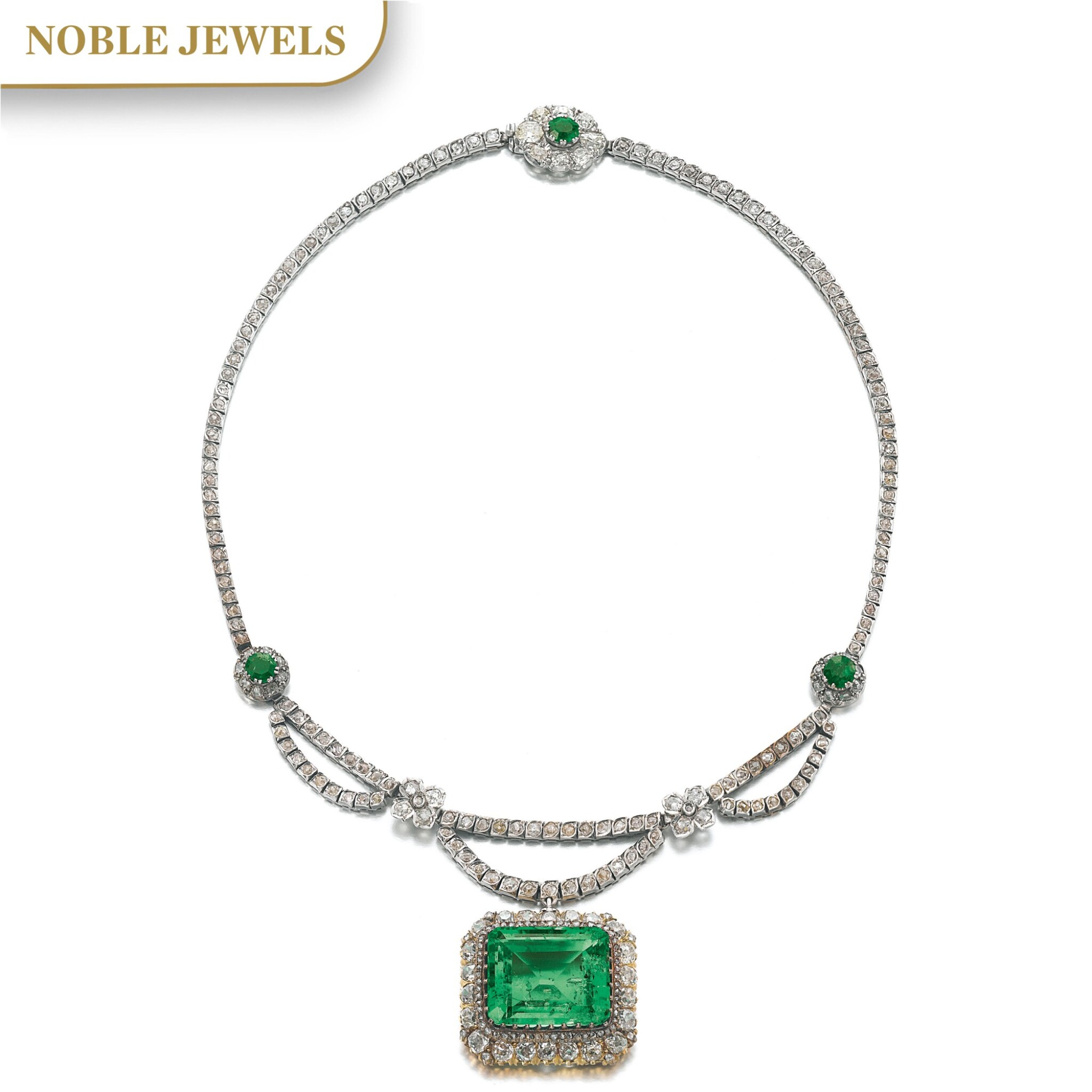 View full screen - View 1 of Lot 163. EMERALD AND DIAMOND NECKLACE.
