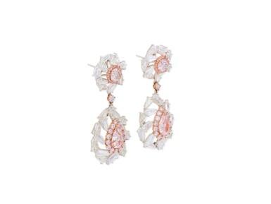 View 2. Thumbnail of Lot 1709. Pair of Coloured Diamond and Diamond Pendent Earrings   彩色鑽石 配 鑽石 耳墜一對.