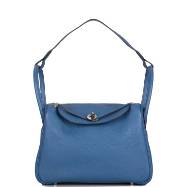 Hermès Bleu Agate Verso Lindy 30cm of Clemence Leather with Palladium Hardware