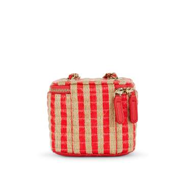 View 5. Thumbnail of Lot 70. Red and Beige Raffia and Jute Thread Mini Vanity Gold Hardware, 2021.