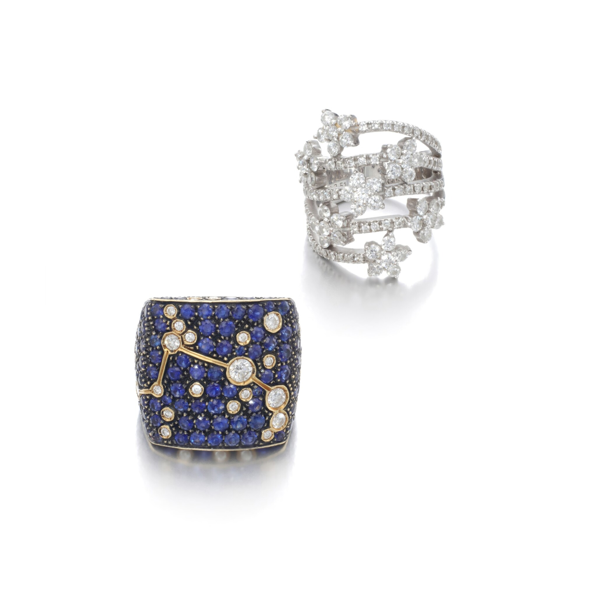 View full screen - View 1 of Lot 104. Diamond ring and a sapphire and diamond ring.