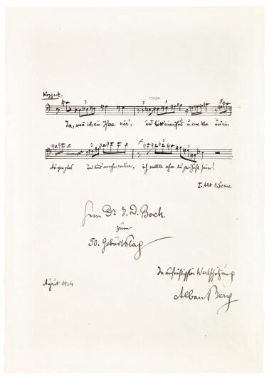 View 5. Thumbnail of Lot 92. Vienna. Autograph manuscripts by Bartok, Berg, Schoenberg, Strauss, Webern, Kokoschka, Schnitzler etc to D.J. Bach, 1924.