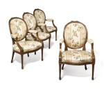 A SET OF FOUR GEORGE III STAINED BEECHWOOD OPEN ARMCHAIRS, CIRCA 1780