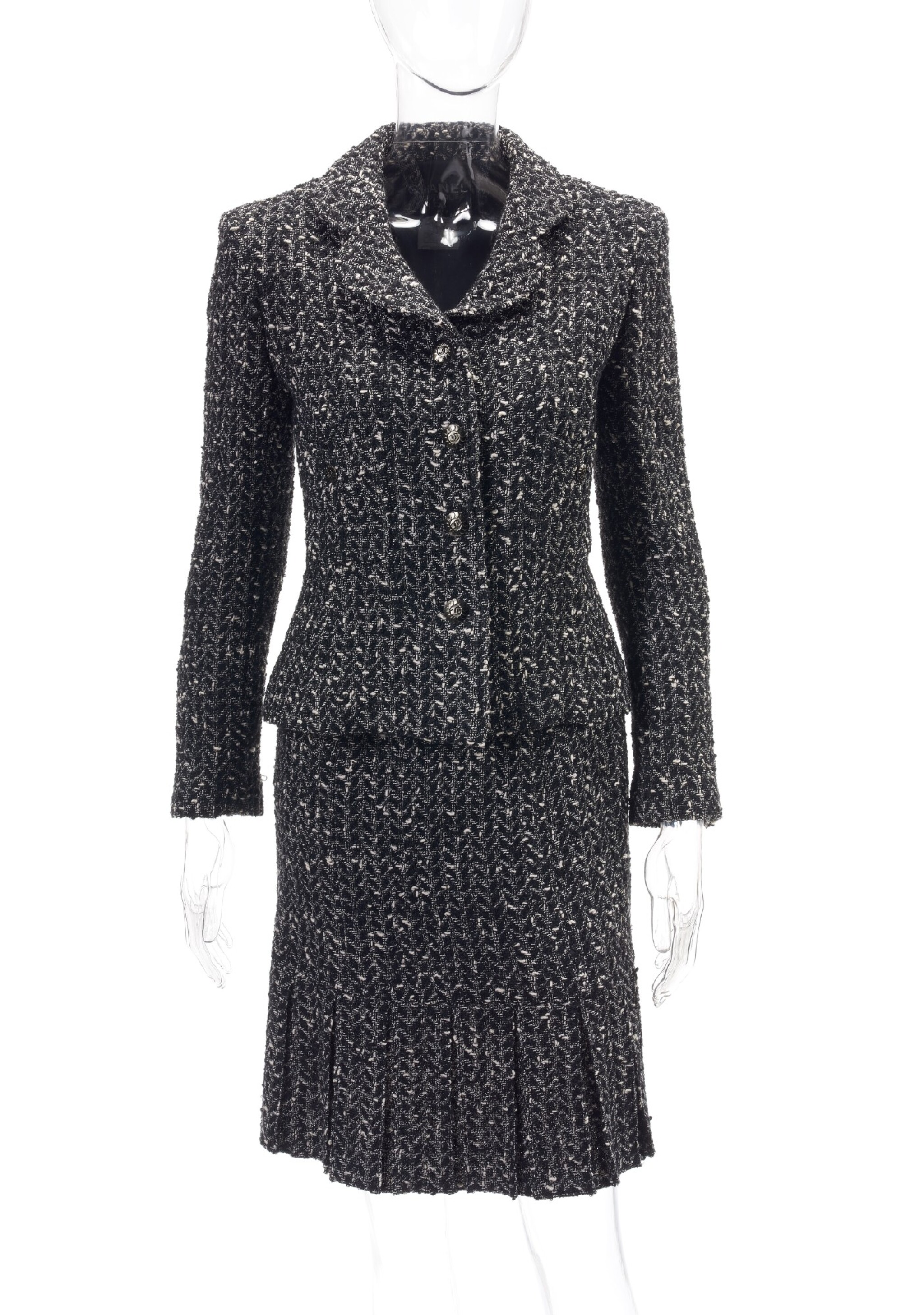 View full screen - View 1 of Lot 124. Black and white wool ensemble.