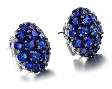 View 2. Thumbnail of Lot 89. GRAFF | PAIR OF SAPPHIRE AND DIAMOND EARRINGS.
