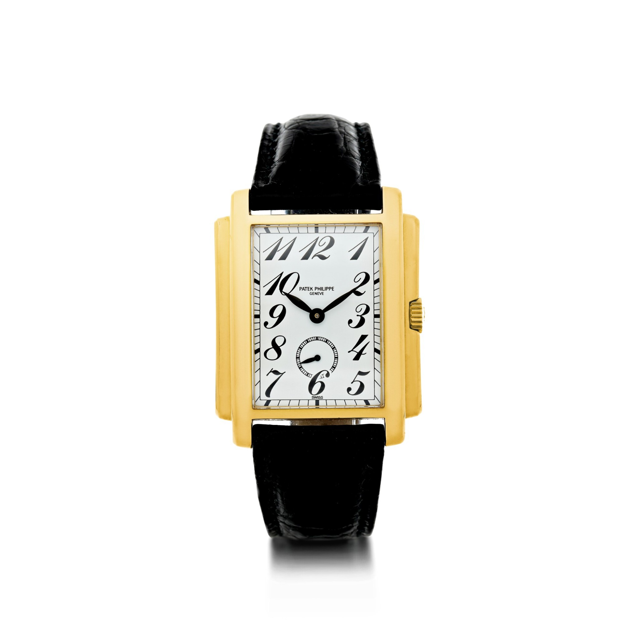 View full screen - View 1 of Lot 159. PATEK PHILIPPE | REFERENCE 5024 GONDOLO A YELLOW GOLD RECTANGULAR WRISTWATCH, MADE IN 1994.