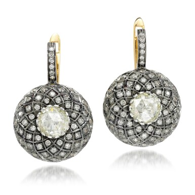 View 1. Thumbnail of Lot 26. Pair of diamond earrings, 'Indo Russian'.