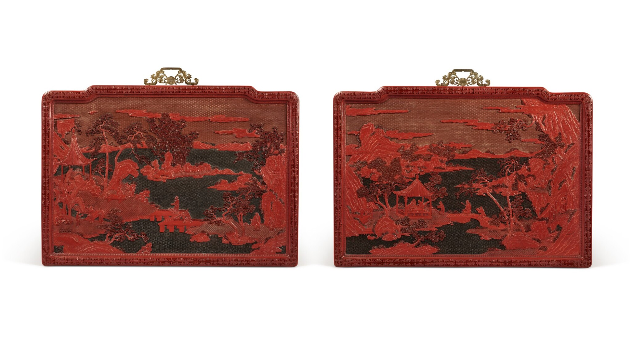 View full screen - View 1 of Lot 63. An exceptional pair of carved three-color lacquer 'landscape' panels, Qing dynasty, Qianlong period | 清乾隆 剔彩山水高士圖掛屏一對.