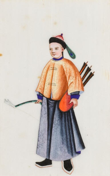 View 17. Thumbnail of Lot 163. A set of fourteen Chinese paintings on silk, Canton, 19th century.