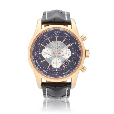 View 1. Thumbnail of Lot 69. Breitling Transocean Chronograph Unitime reference RB0510 A pink gold automatic chronograph worldtime wristwatch with date, circa 2012.