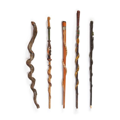FIVE FINE CARVED AND POLYCHROME PAINT-DECORATED WOOD WALKING STICKS, EARLY 20TH CENTURY